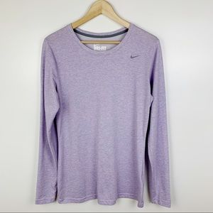 Nike Dry-Fit Purple Active Long Sleeve Shirt Top L